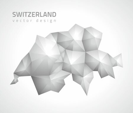 transverse: Switzerland polygonal gray and silver triangle map