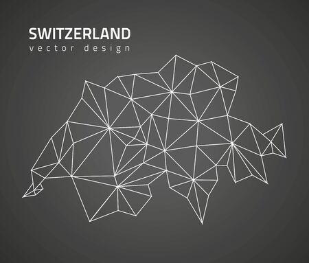 Switzerland black perspective vector map of Europe Vektoros illusztráció