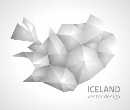 transverse: Iceland gray triangle vector polygonal map