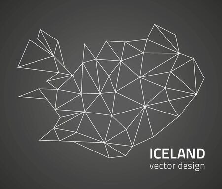 savour: Iceland vector dark contour map perspective Illustration