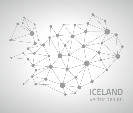 savour: Iceland vector polygonal gray map of Europe