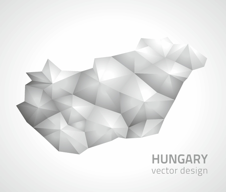 perpective: Hungary gray perpective modern vector maps
