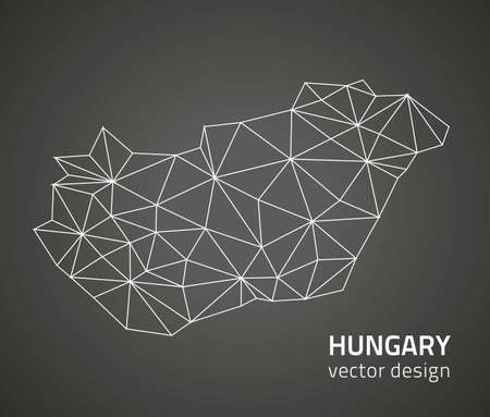 savour: Hungary black outline vector polygonal map Illustration
