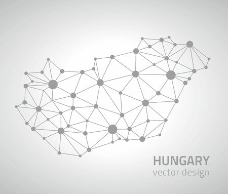 savour: Hungary gray triangle vector outline map of Europe