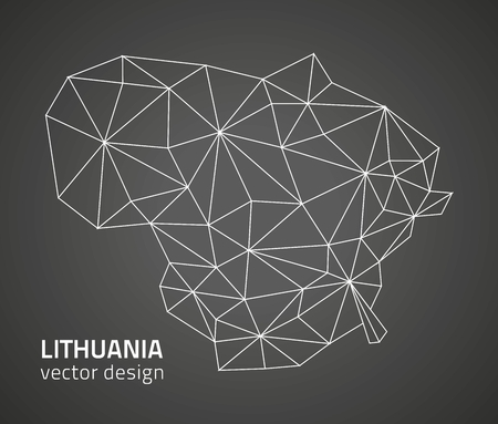 Lithuania black contour vector map of Europe