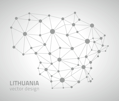 lithuania: Lithuania gray triangle vector outline maps