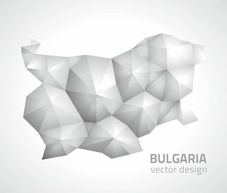 savour: Bulgaria polygonal silver modern perspective map Illustration