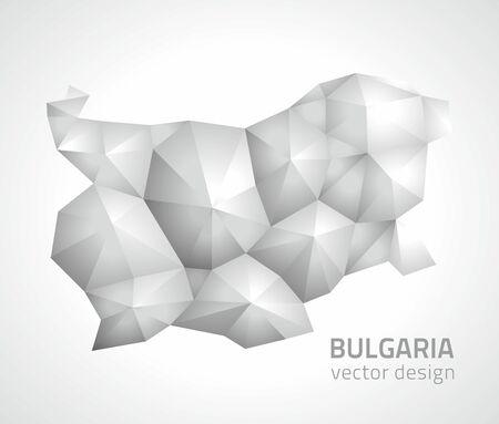 slant: Bulgaria polygonal silver modern perspective map Illustration