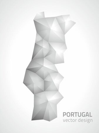 polity: Portugal polygonal gray modern vector maps Illustration