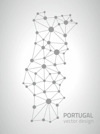 gray dot: Portugal dot gray and silver vector outline maps