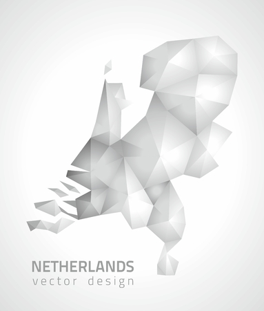 polity: Holland polygfonal gray and silver vector map of Europe