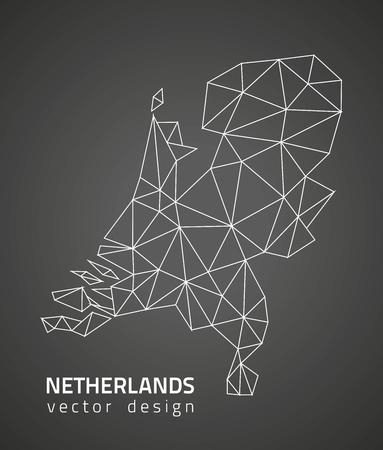 savour: Netherlands black triangle vector contour map