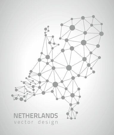 savour: Netherlands gray contour perspective vector maps Illustration