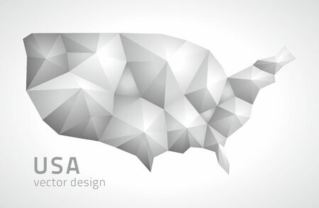 United states of America polygonal gray triangle vector maps