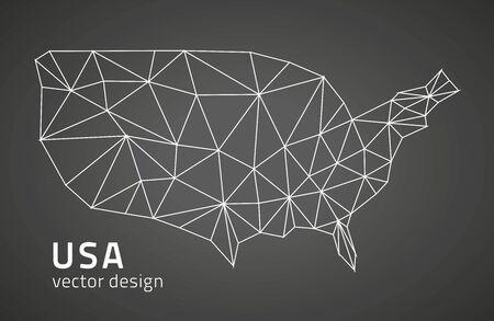 USA vector black contour maps