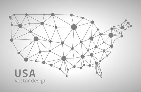 gray dot: USA dot gray vector polygonal modern maps Illustration