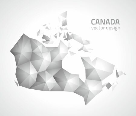 Canada gray and silver triangle perspective map