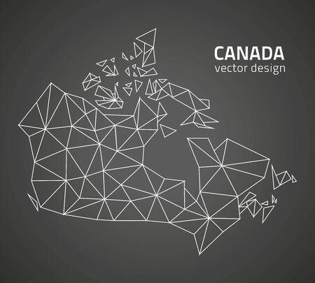 savour: Canada vector black polygonal contour maps Illustration