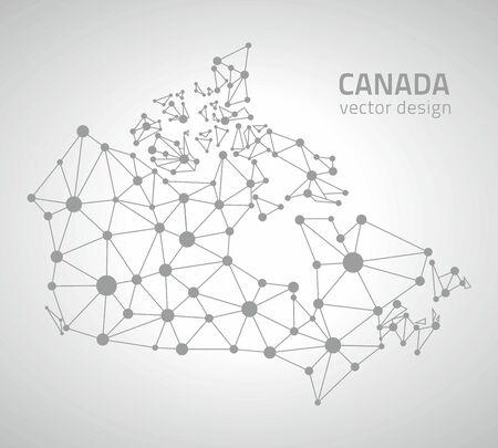 gray dot: Canada gray dot vector outline maps Illustration