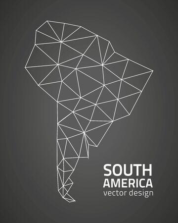 Amérique du Sud noire polygonale carte vectro