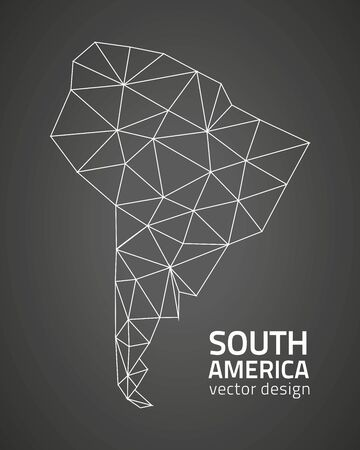 South America black polygonal vectro map
