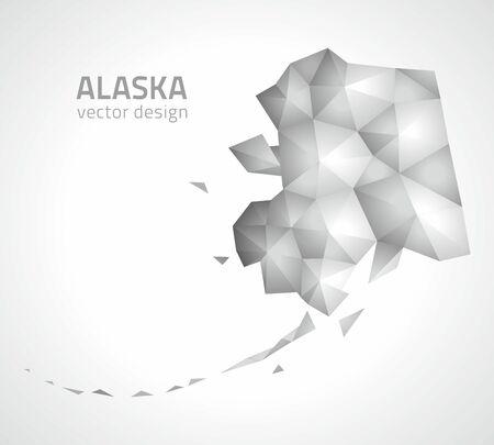 Alaska gray and silver polygonal map Иллюстрация
