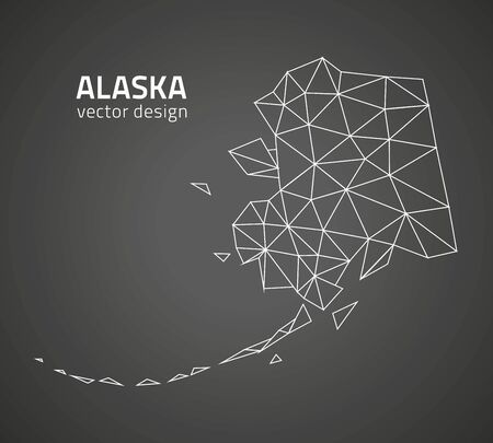 perspectiva lineal: Alaska tri�ngulo negro perspectiva de mapa