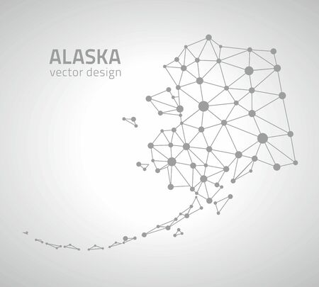 perspectiva lineal: Alaska dot mapas gris contorno