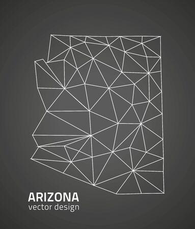 polity: Arizona black contour map