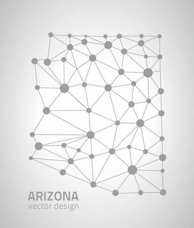 perspectiva lineal: Arizona mapas de puntos de contorno de plata Vectores