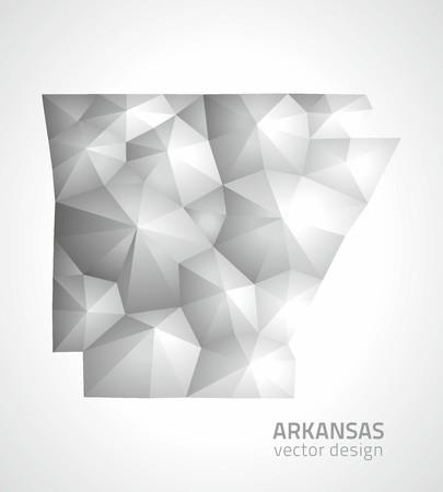 slant: Arkansas polygonal gray triangle maps Illustration