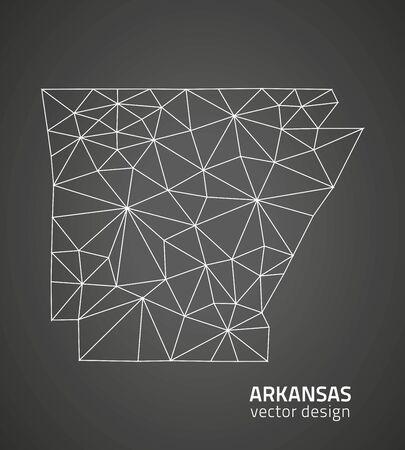 arkansas: Arkansas outline black and white maps Illustration
