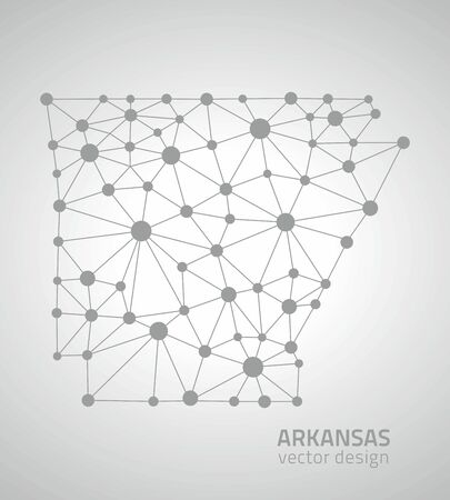 perspectiva lineal: Arkansas mapa tri�ngulo gris de Am�rica