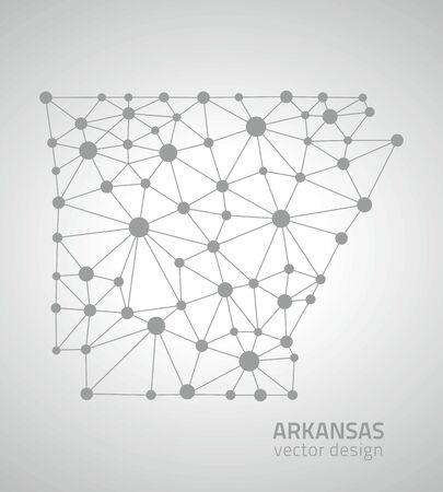 Arkansas triangle gris carte de l'Amérique Banque d'images - 62127319