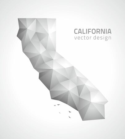 California polygonal gray and silver map