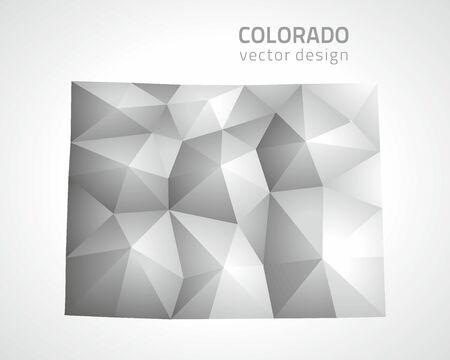 Colorado polygonal gray and silver vector map of America