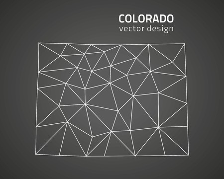 denver colorado: Colorado dark outline perspective triangle map Illustration