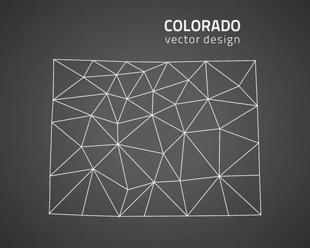 Colorado dark outline perspective triangle map Vettoriali