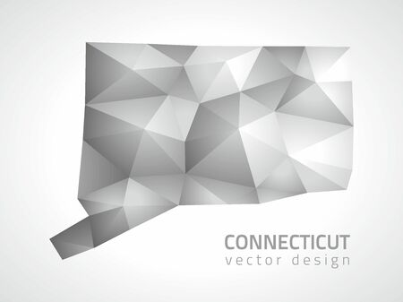 perspectiva lineal: Connecticut triángulo gris mapa poligonal Vectores