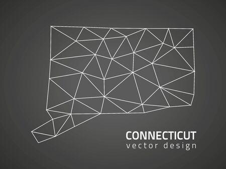 contour: Connecticut black contour map perspective