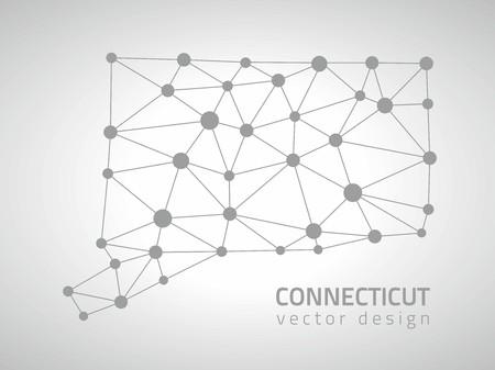 perspectiva lineal: mapas del contorno del tri�ngulo de puntos Connecticut Vectores