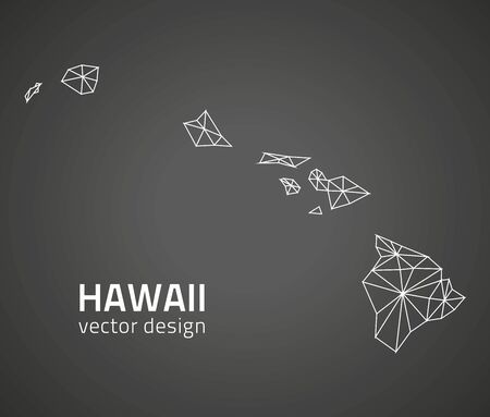 Hawaii vector black outline mosaic map Vettoriali