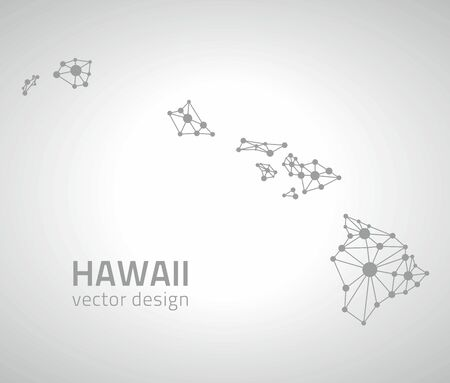 gray dot: Hawaii gray vector dot contour maps Illustration