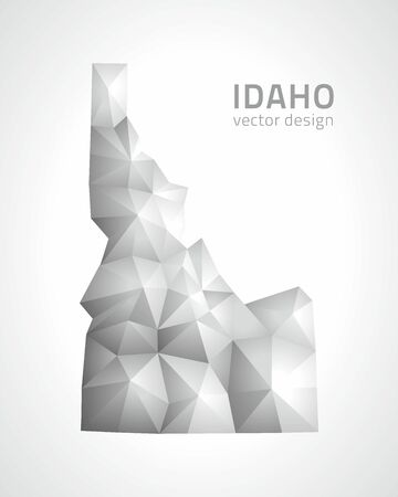 savour: Idaho polygonal gray and silver triangle perspective map Illustration