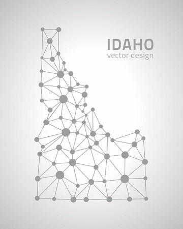 Idaho dot gray vector outline maps