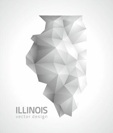 Illinois polygonal gray triangle vector maps Çizim