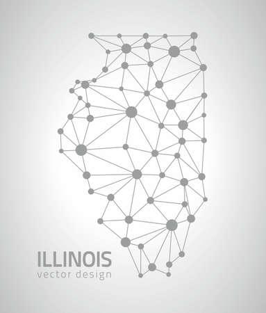 gray dot: Illinois vector mosaic gray dot map