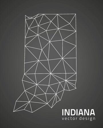 outline maps: Indiana black mosaic vector outline maps Illustration
