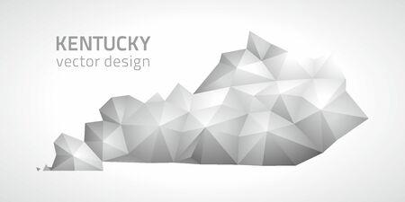 Kentucky gray mosaic 3d vector outline maps
