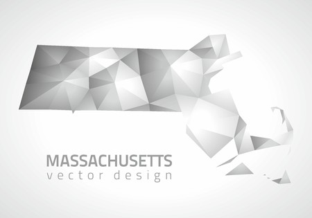 transverse: Massachusetts mosaic gray triangle perspective vector map